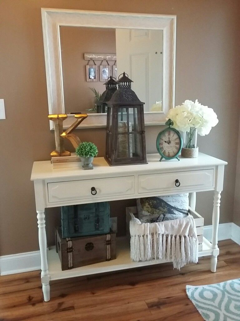 Entryway Table Decor With Crate Pillow Chest Lantern Foyer Mirror