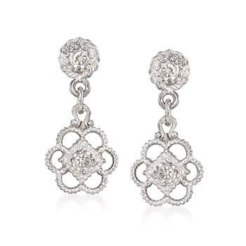 Ross-Simons - Euphoria New York Sterling Silver Double-Sided Flower Drop Earrings With Diamond Accents - #831126