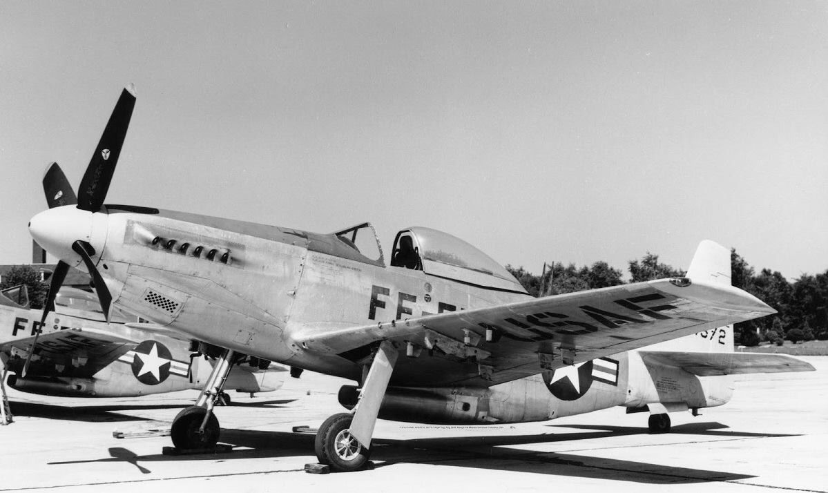 F-51H (44-64572) of the 56th FG at Selfridge AFB, Michigan in August of 1949. It was being used as a target tug at the time. (photo by William Balogh).