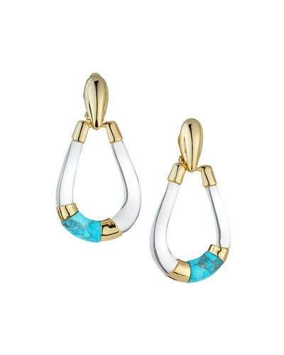 Lucite Colorblocked Teardrop Earrings, Clear