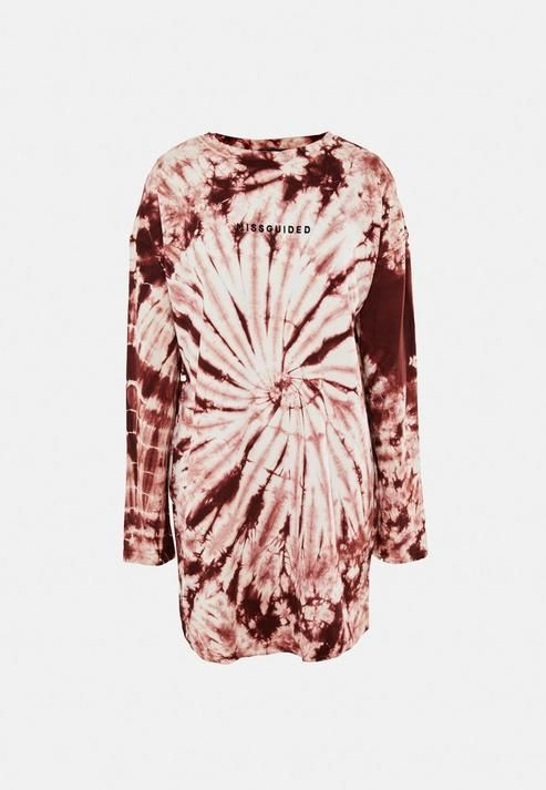Missguided - Brown Tie Dye Missguided Oversized T Shirt Dress