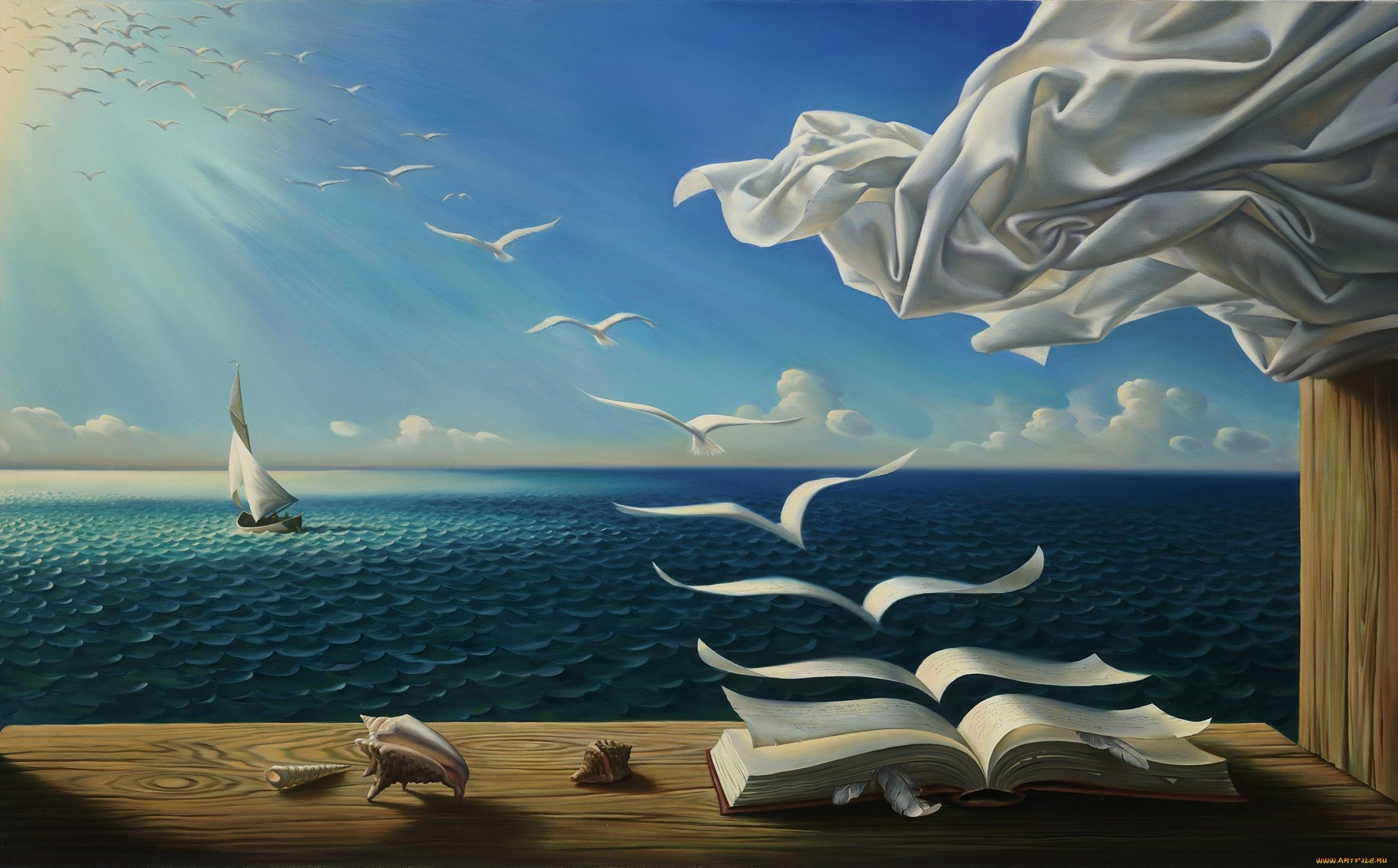 Sky Sea Books Birds Rob Gonsalves Wallpaper Murales Arte