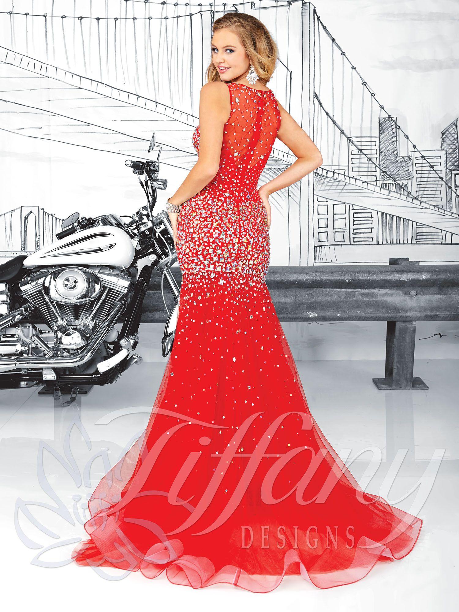 Tiffany designs prom dress bateau neckline rhinestones