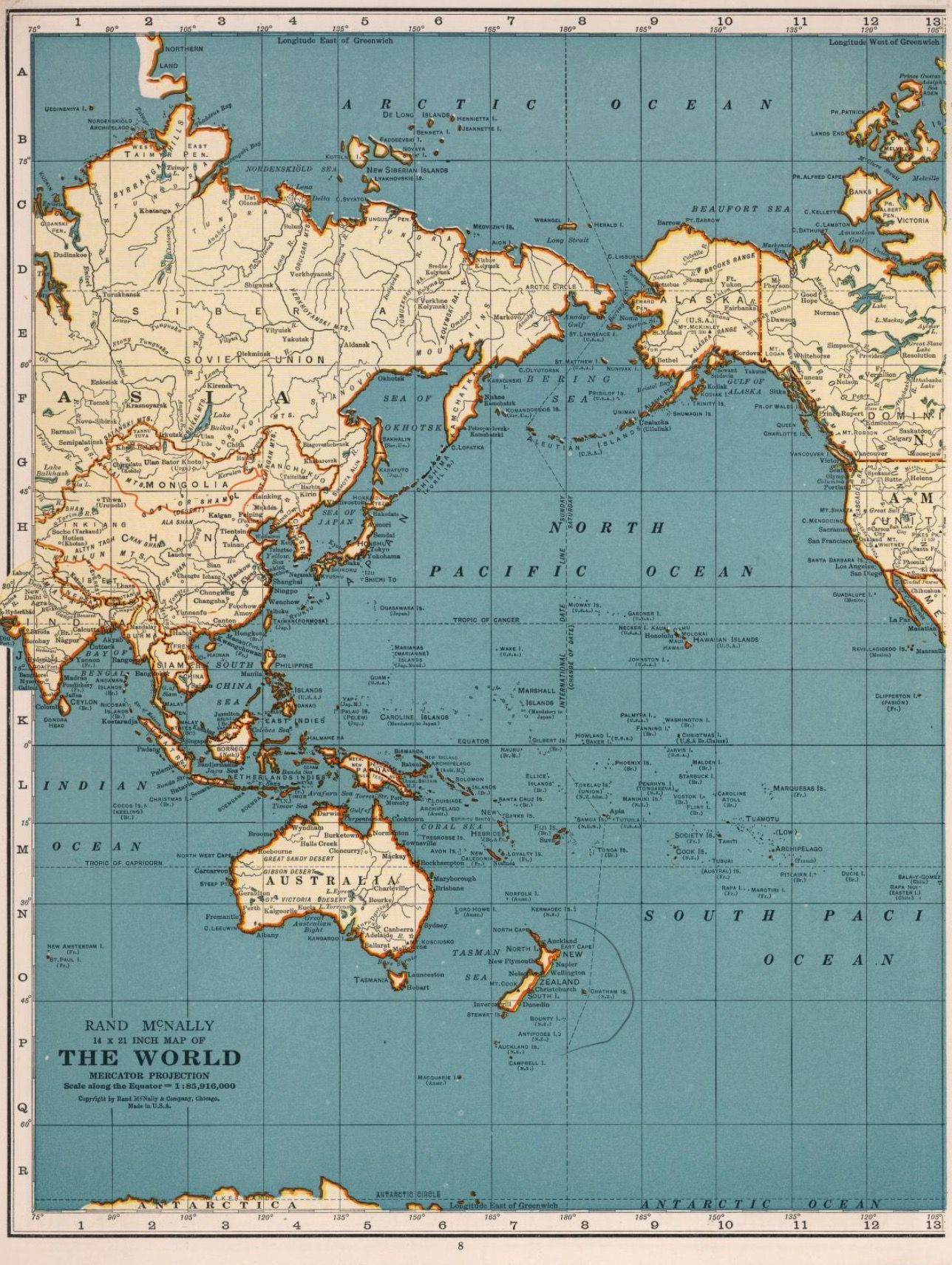1937 rand mcnally map of the world centered on pacific ocean rand mcnally map of the world centered on pacific ocean mercator projection gumiabroncs Gallery