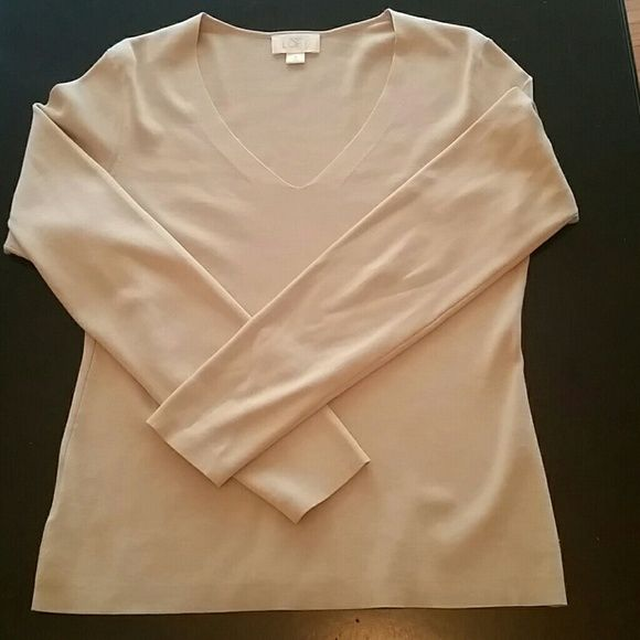 Great V-neck sweater Ann Taylor beige silk/cotton/nylon v-neck sweater! Ann Taylor Sweaters V-Necks