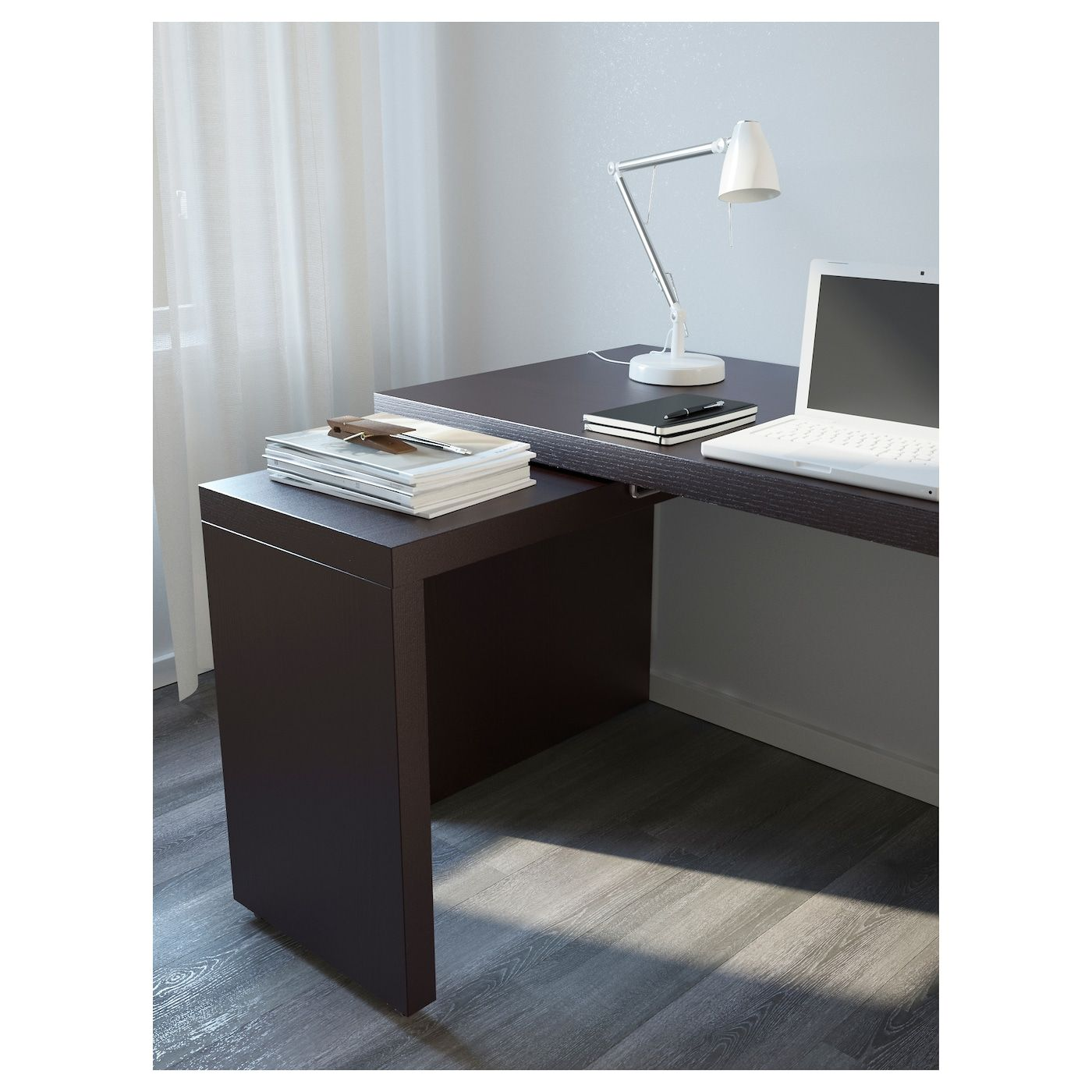 Malm Desk With Pull Out Panel Black Brown 59 1 2x25 5 8 Ikea Home Office Furniture White Paneling Ikea Malm Desk