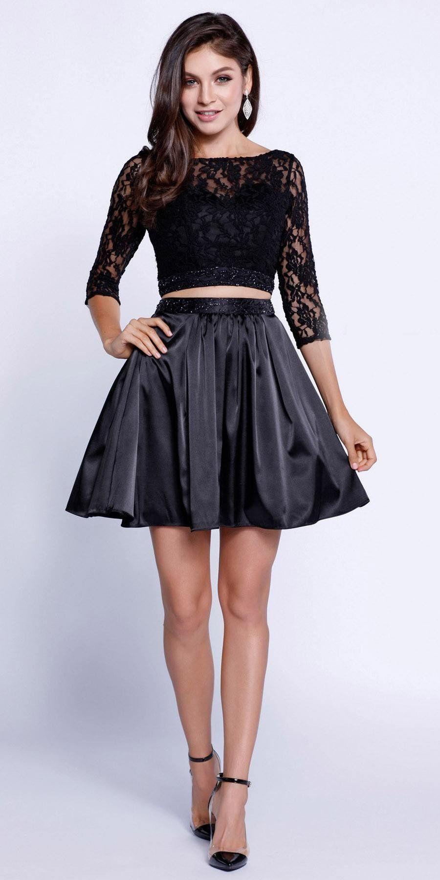 Quarter sleeves lace top short twopiece prom dress black moda