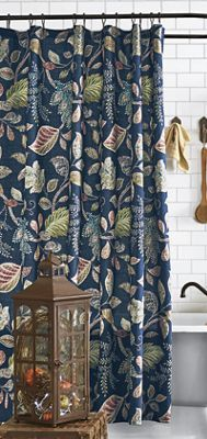Eyeing This Autumn Leaves Navy Shower Curtain