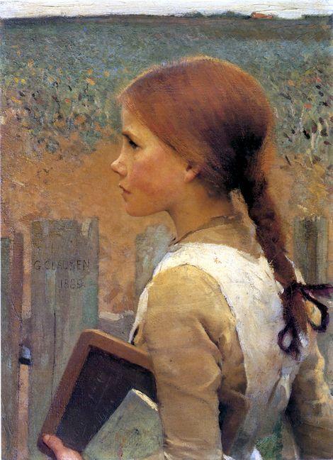 Sir George Clausen, A Schoolgirl   on ArtStack #sir-george-clausen #art