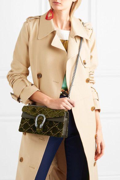 99e981f35de Gucci - Dionysus Leather-trimmed Embossed Velvet Shoulder Bag - Army green