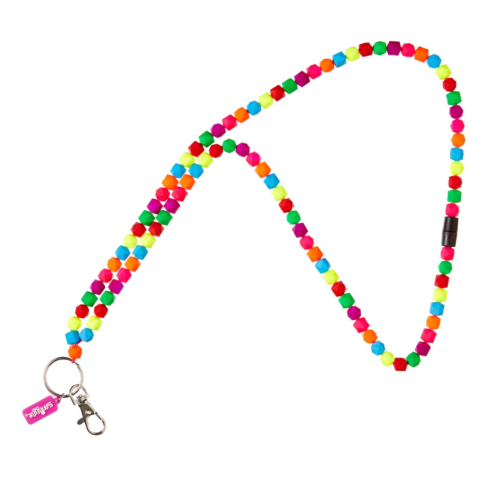 Hearts Print LANYARD key chain ID Holder Strap Rainbow Black /& Pink or Multi