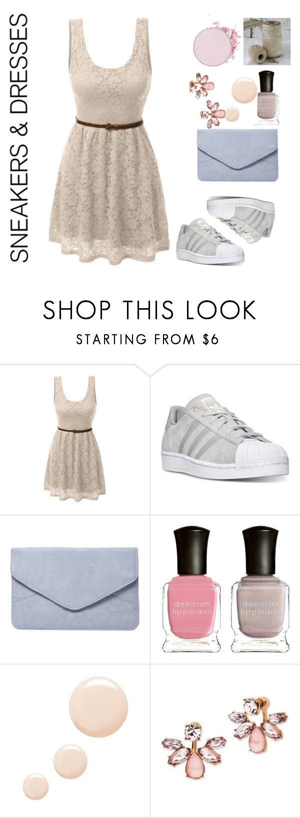 """sneakers and dress"" by ava-r-johnson on Polyvore featuring LE3NO, adidas, Dorothy Perkins, Deborah Lippmann, Topshop and Marchesa"
