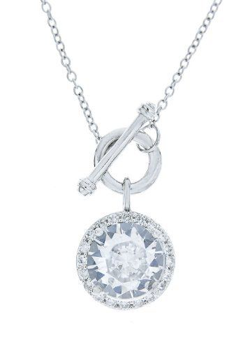 """Platinum Plated Sterling Silver Round Cubic Zirconia Drop Necklace, 18"""" Amazon Curated Collection. $32.00. Made in China"""