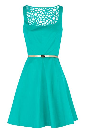 Florence turquoise Dress. Love this color and style! Cool back details. 3ec2e2011