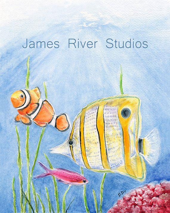 Fish Art Fish Painting Fish Art Print Fish Watercolor Painting