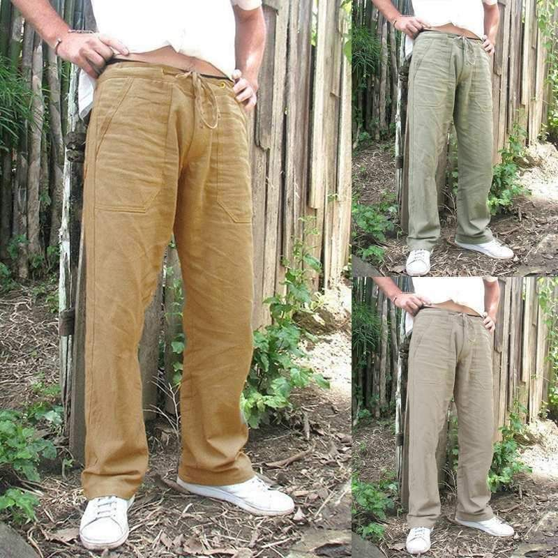 Men Drawstring Casual Linen Baggy Pants Loose Straight Beach Long Trousers M-3XL