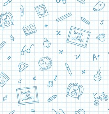 School Doodle Pattern On A Notebook Paper Vector By Stolenpencil