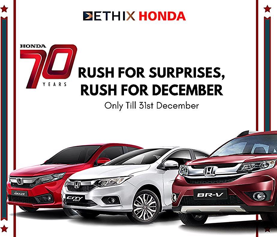 Honda turns 70 this year and we're celebrating with an exciting it at Ethix Honda! Rush to Ethix Honda Or Call: 2067486868  #ethixhonda #honda #hondacars #hondaamaze #pune #amaze2018