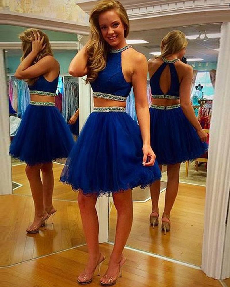 Elegant Royal Blue Two Piece Prom Dress Backless Tulle Beading Knee Length Homecoming Two Piece Homecoming Dress Piece Prom Dress Royal Blue Homecoming Dresses [ 1000 x 800 Pixel ]