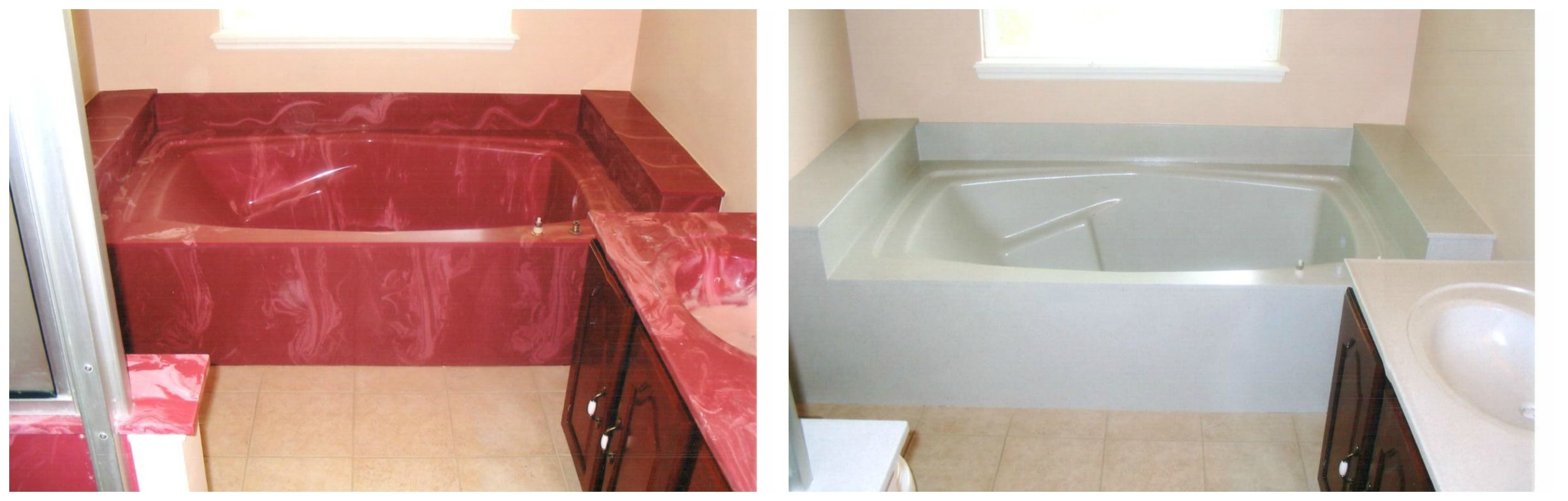 Ugly Cultured Marble Tub Before On Left Beautifully