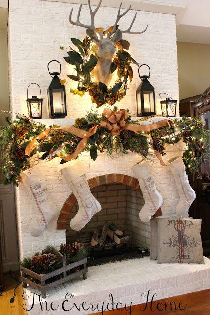 Christmas Mantel {Oh deer Christmas mantels, Mantels and Holidays