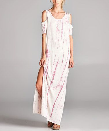 fa23d9e7f1cc Another great find on #zulily! Pink Tie-Dye Cold-Shoulder Maxi Dress # zulilyfinds