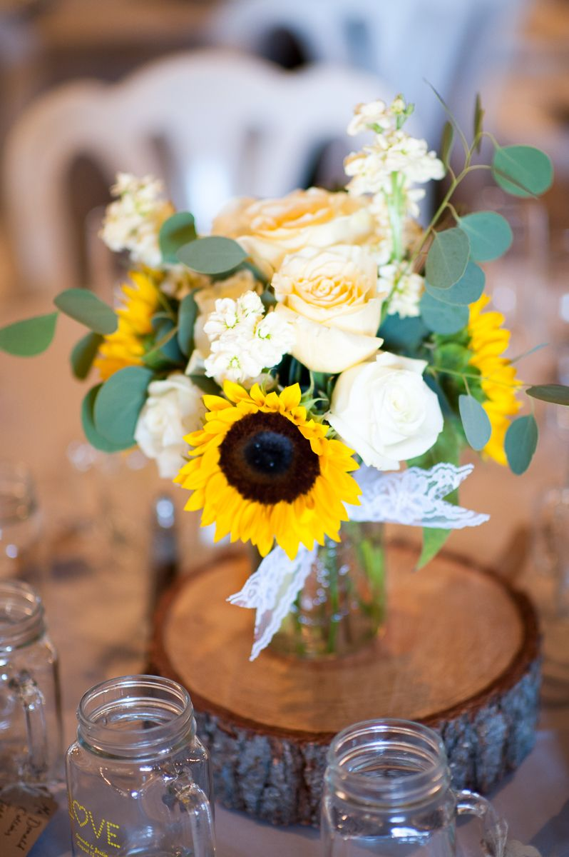 Eucalyptus Garland Centerpiece With Sunflowers And Mason