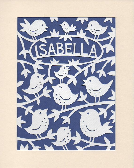 Baby girl gift personalised papercut art for your nursery baby girl gift personalised papercut art for your nursery woodland birds lovely gift negle