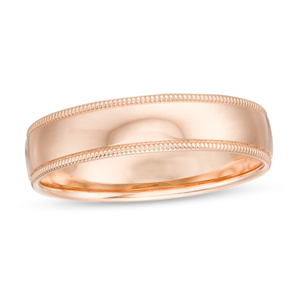 Men S 5 0mm Milgrain Comfort Fit Wedding Band In 10k Rose Gold Size 10 Wedding Bands Rose Gold Size 10 Rings