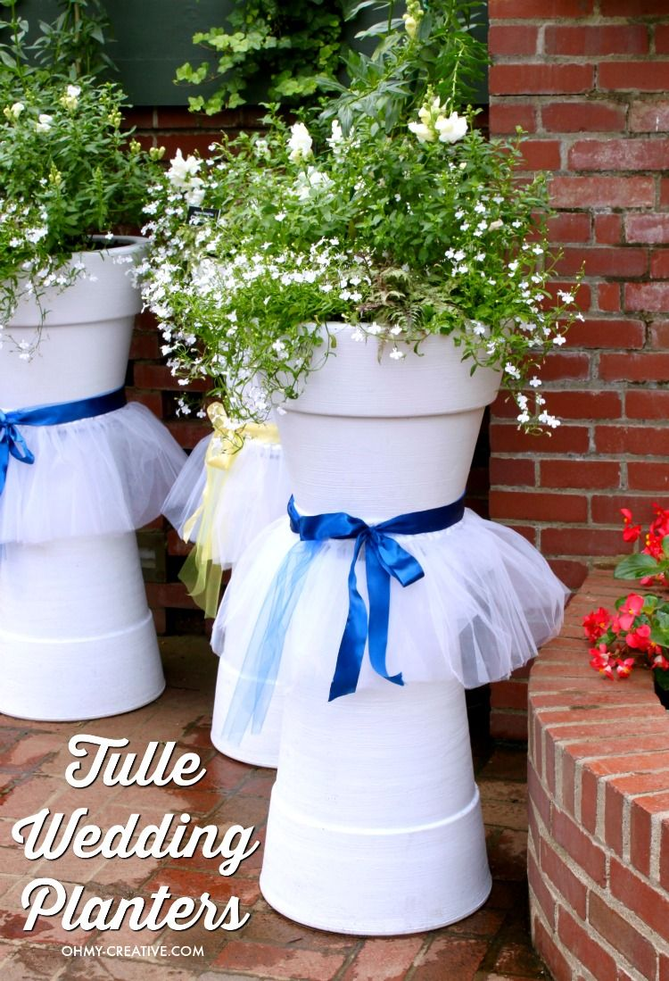 How Adorable Are These Tulle Diy Wedding Flower Pots For Weddings Bridal Showers Or Other Spring Summer Events Easy To Make With White Painted