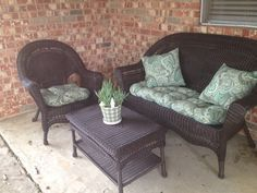 Hand Me Down White Plastic Wicker Patio Furniture Spray Painted Espresso Cushions From Pier 1 Plant Home Depot Pot Target