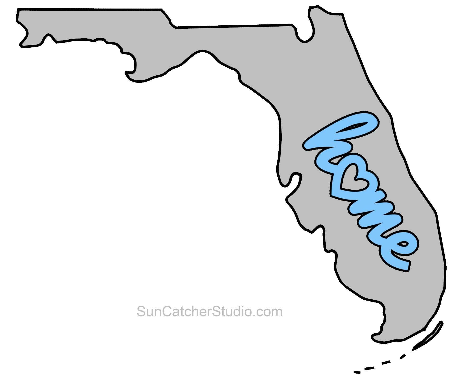 Florida Map Blank.Florida Map Outline Printable State Shape Stencil Pattern