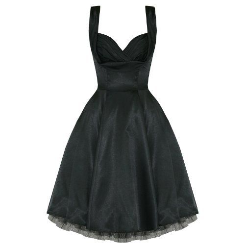 H/&R LONDON BLACK SATIN MARILYN 50s PINUP ROCKABILLY VINTAGE PARTY PROM DRESS
