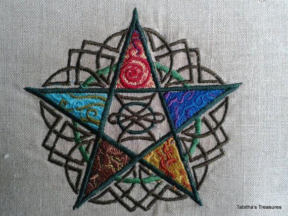 Handmade Embroidered Pentagram Pillow by LadyTabithasTreasure, $34.00