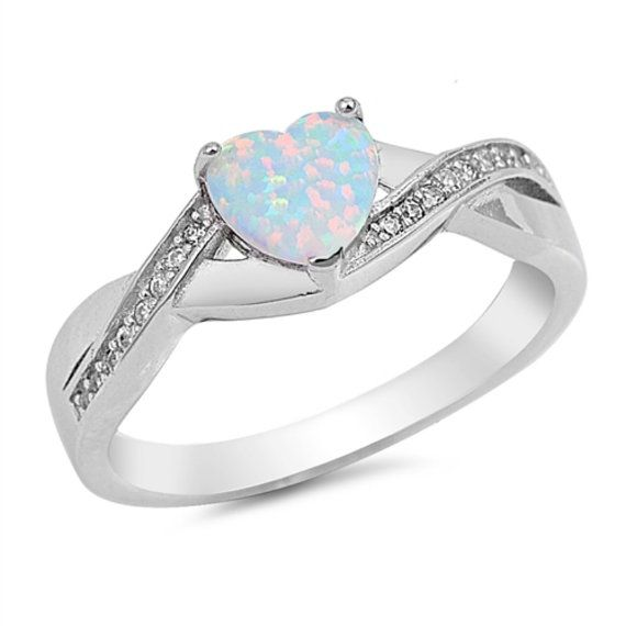 0.74 Carat Heart Shape Lab White Opal Round by BlueAppleJewelry