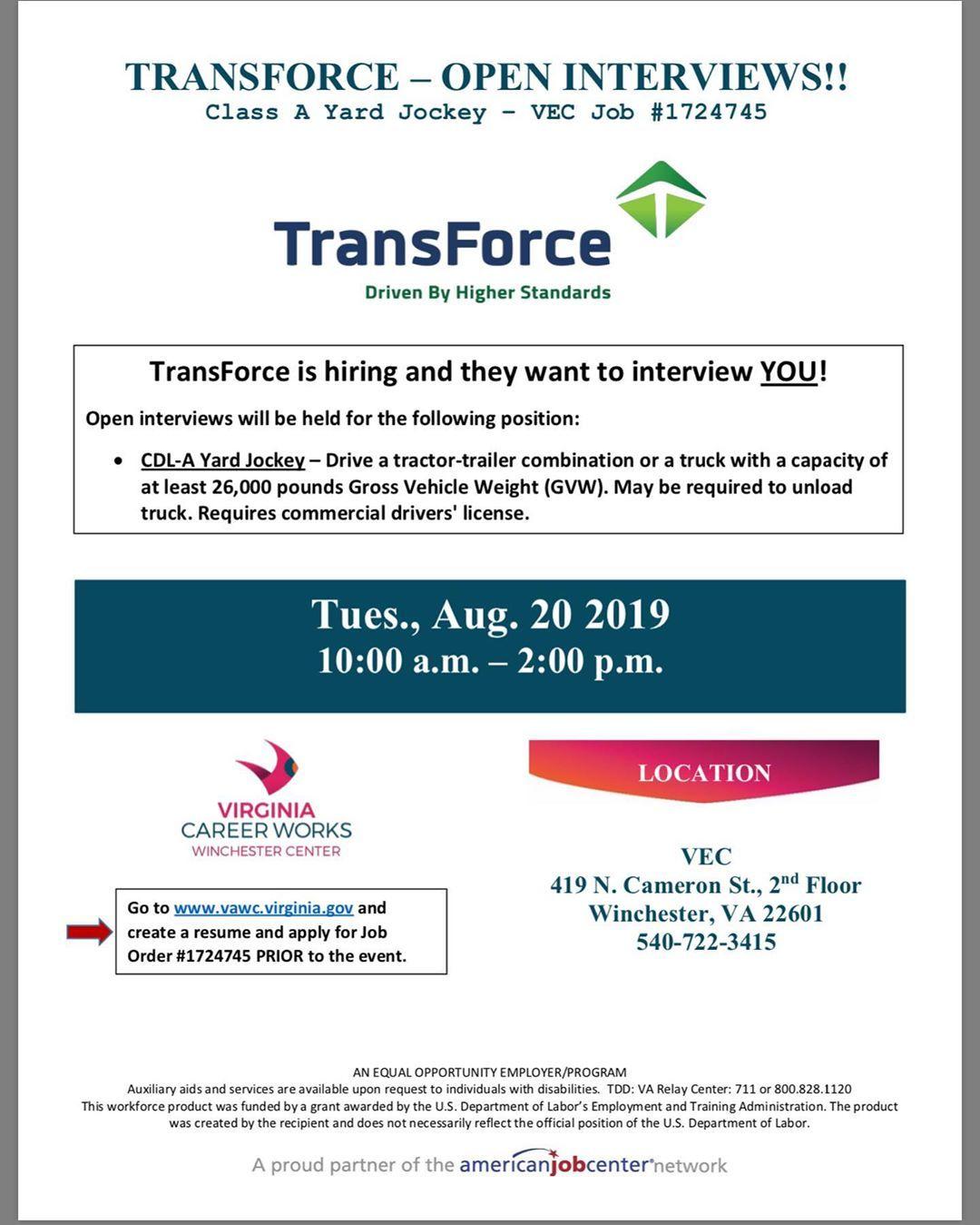 Attention TransForce Job Fair!!! WHEN Tues. Aug. 20 2019