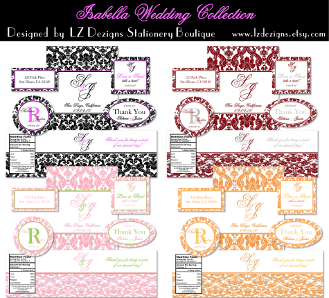 Free 4 Sets Of Color Printable Labels In A Damask Design Round Oval And Other Sizes You Can Use As Favor These Are Really Nice