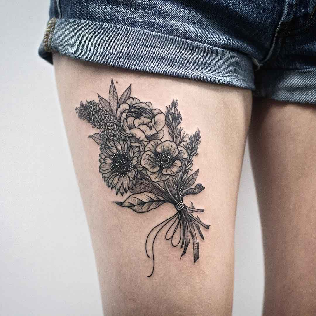 Bunch Of Flowers Tattoo Tattoo Ideas Tattoos Flower Tattoos