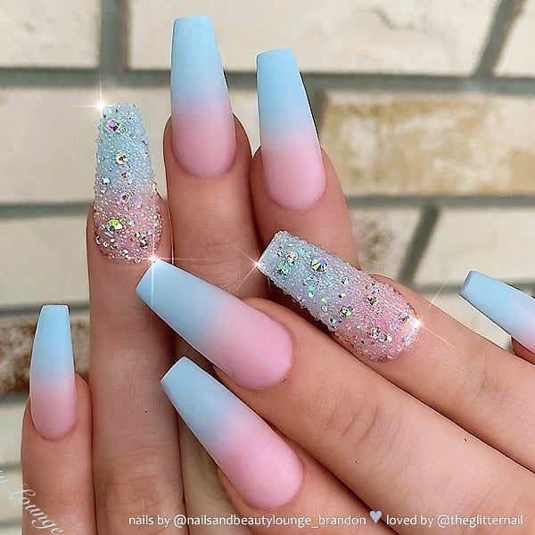"TheGlitterNail 🎀 Get inspired! on Instagram: ""✨ REPOST Matte Sky Blue Ombre with Crystal Pixie and Crystals on long Coffin Nails ✨ • 💅 Nail Artist: @nailsandbeautylounge_brandon 💝…"""