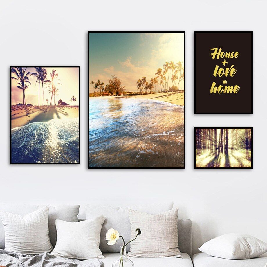 Tropical Beach Landscape Art Poster Wall Prints House Decoration Pictures