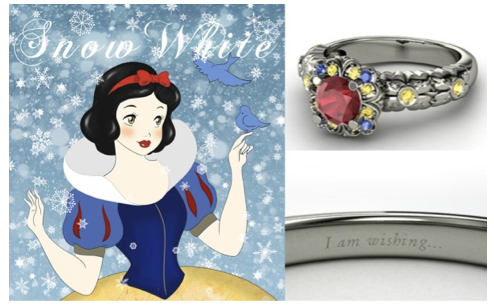 #Engagement #rings that celebrates your favorite #Disney heroine #snowwhite - It holds a center round #ruby atop a studded floral arrangement accented with blue and yellow #sapphires.