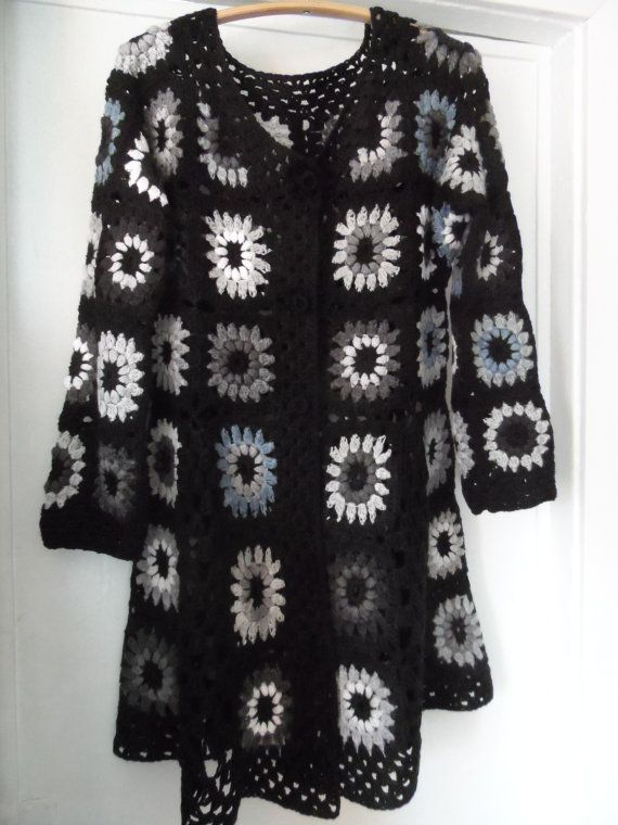 Crochet Granny Square Gipsy Hippie Boho Black Gray Coat Jacket