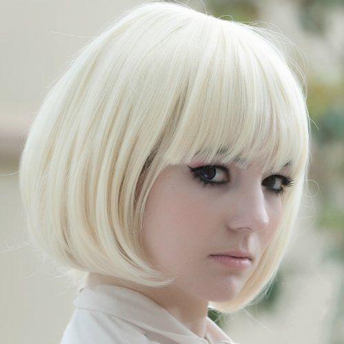 UZZO™ New Popular Cosplay Hallowmas Kanekalon Short Straight BOB Sexy Stylish Synthetic Hair Wig White