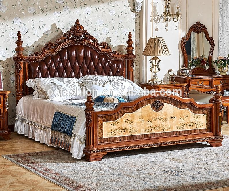 Luxury Antique Royal Furniture Wooden Double Bed Designs