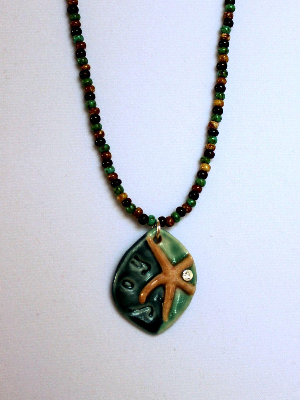 Artisan porcelain clay starfish joy pendant with czech seed beads artisan porcelain clay starfish joy pendant with czech seed beads beach jewelry starfish jewelry aloadofball Gallery