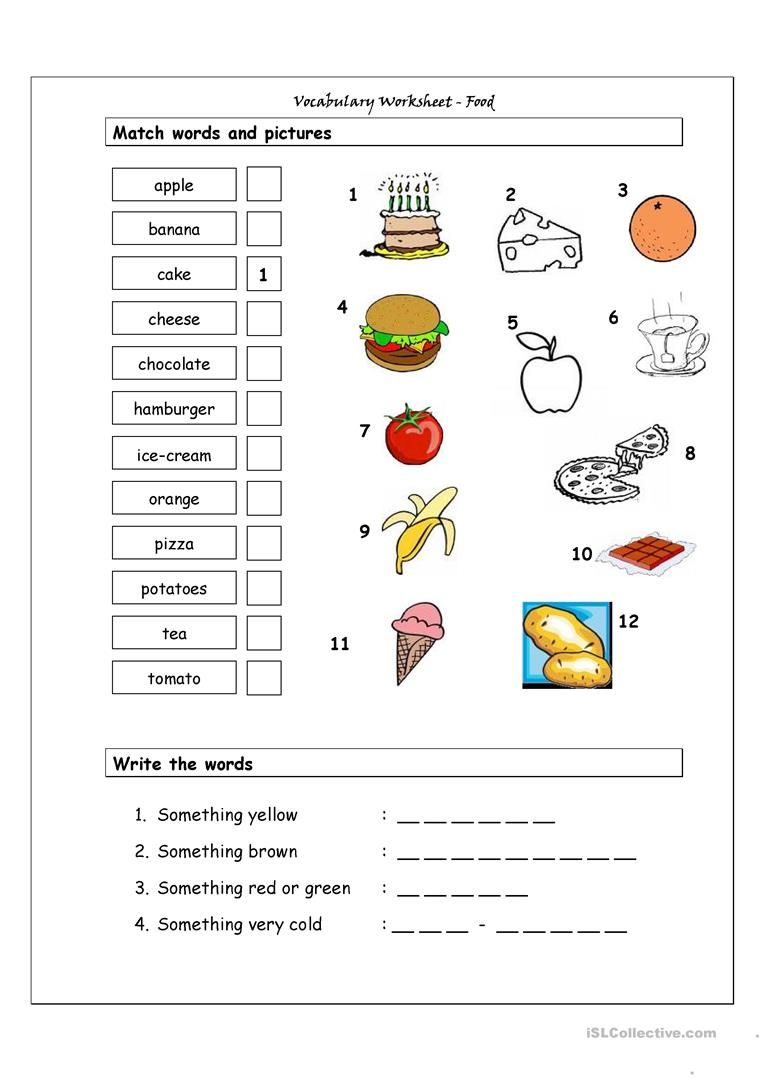 Pin by pavla on food pinterest activities and food vocabulary worksheet containing basic food vocabulary it has two sections match words and pictures matching exercise and write the words spelling ibookread Download