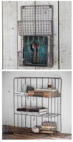 Wire magazine rack and locker room shelf