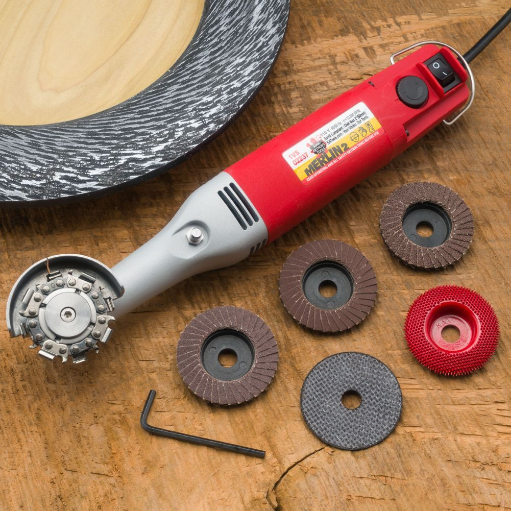King Arthur Tools Merlin2 Universal Wood Carving Set from Craft Supplies USA --- The Merlin2 Mini-Angle Grinder is built to meet the needs of the most creative woodturners and woodcarvers. With a wide variety of quality carving attachments and accessories #WoodworkingTools