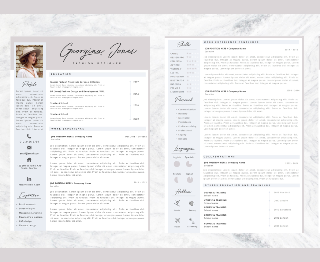 Professional Resume + Cover letter Template Editable for MS Word ...