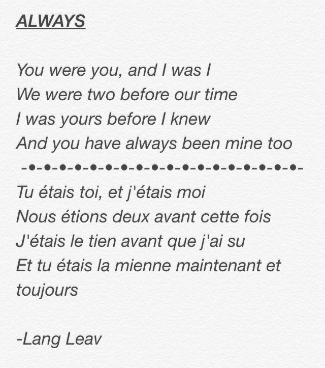 My Favorite Poem In English And French It S So Cute French Poems French Love Poems Touching Quotes